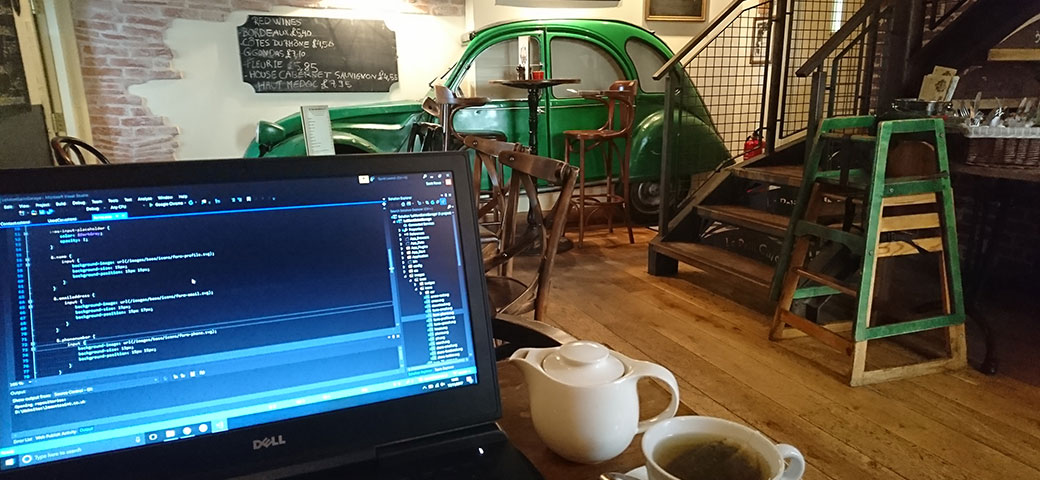 Working from Le Petit Bistro in Guernsey